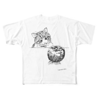 猫とりんご Full graphic T-shirts
