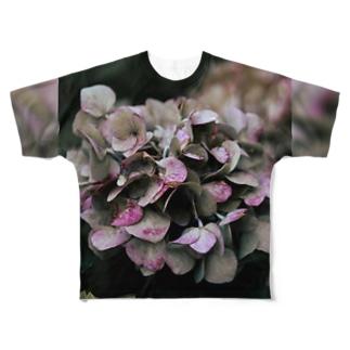 【花途夢】紫陽花(ピンク) Full graphic T-shirts