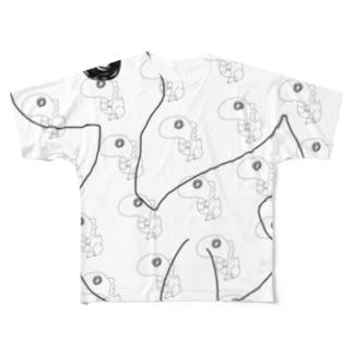 恐竜と背景恐竜 Full graphic T-shirts