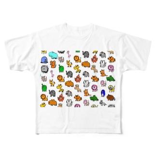 動物モノグラム Full graphic T-shirts