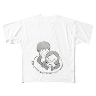 妻のお腹には赤ちゃんがいます☆ Full graphic T-shirts