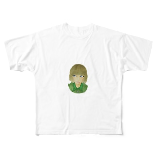 青い目の少女 Full graphic T-shirts