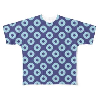 鹿の子(青×水) Full graphic T-shirts