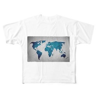氷と水の世界地図 Full graphic T-shirts