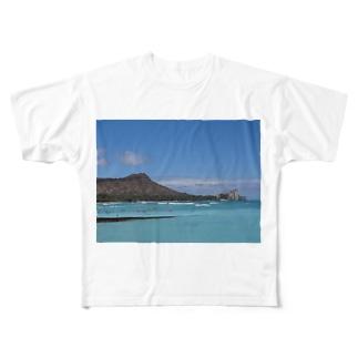 ハワイ ダイヤモンドヘッドと海 Full graphic T-shirts