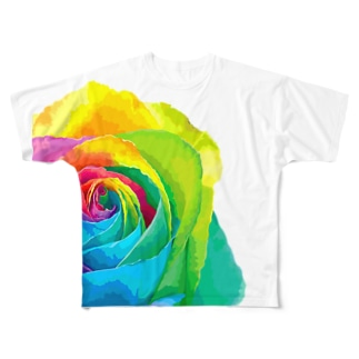 Rainbow rose(Single) Full graphic T-shirts