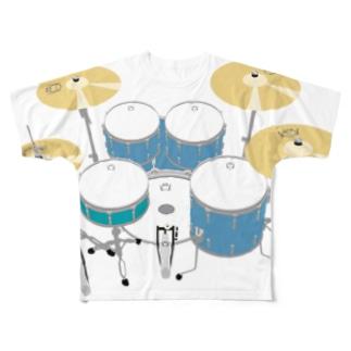ドラムセット(ブルー) Full graphic T-shirts