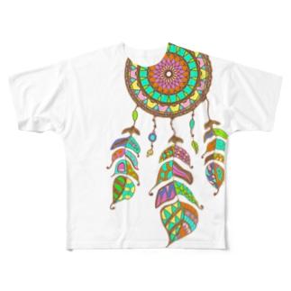 カラフルドリームキャッチャー Full graphic T-shirts