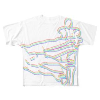 架空のプロレスタッグ技「デスサイスハリケーン」」 Full graphic T-shirts
