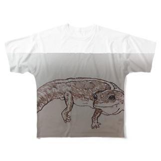 手書き ニシアフリカトカゲモドキのたこやき Full graphic T-shirts