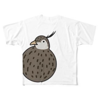 まんまるカンムリシギダチョウ Full graphic T-shirts