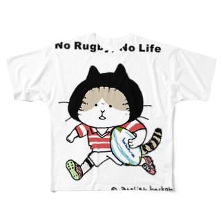 ほっかむねこ屋(アトリエほっかむ)のラグビーねこ Full graphic T-shirts