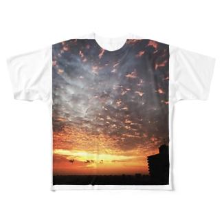 サンライズ、サンセット、朝焼け、夕焼け Full graphic T-shirts