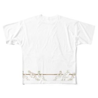 綱引き 背面デザインあり Full graphic T-shirts