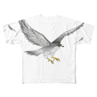 隼ファルコン【まめるりはことり】 Full graphic T-shirts