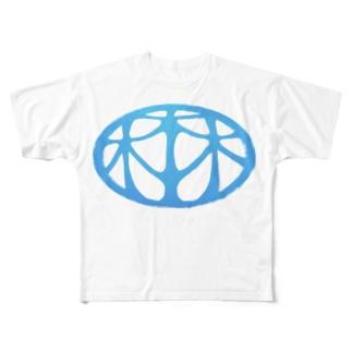 HARUYASUの細長ロゴマーク Full graphic T-shirts