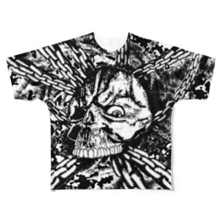 スカル チェーン 白黒 Full graphic T-shirts