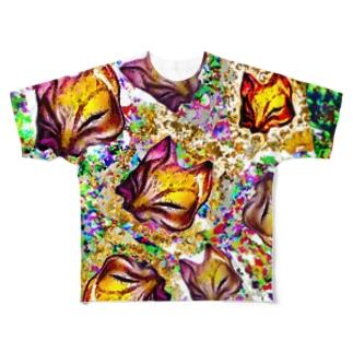 狐面 祭り Full graphic T-shirts