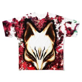 狐面 焔 Full graphic T-shirts
