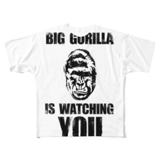 BIG GORILLA IS WATCHING YOU Full graphic T-shirts