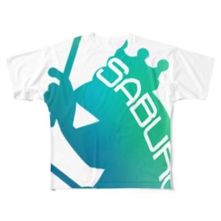 ドラム カエル シルエット グリーングラデーション Full graphic T-shirts