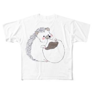 オリジナルイラスト ハリネズミくん Full graphic T-shirts