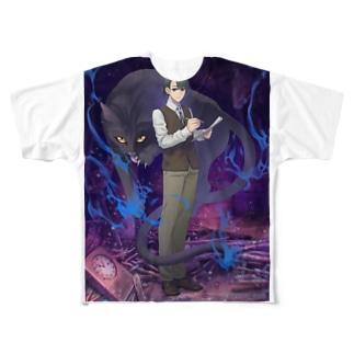 黒猫怪奇探偵事務所 Full graphic T-shirts