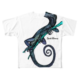 "Dark blanco ""Lizard"" Full graphic T-shirts"