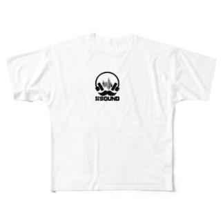 HIGESOUNDの髭サウンドロゴ 黒 Full graphic T-shirts