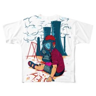 boy wearing gas mask Full graphic T-shirts