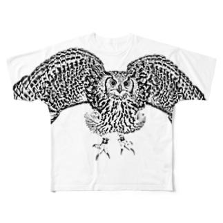 モノクロミミズク Full graphic T-shirts
