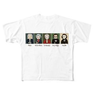 音楽室の肖像画 Full graphic T-shirts