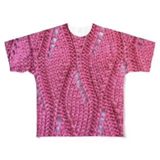 透かし編みニット手編み風赤 Full graphic T-shirts