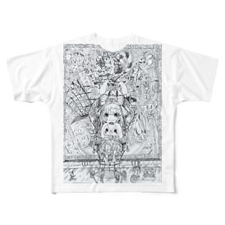 不思議の国のアリス(白黒) Full graphic T-shirts