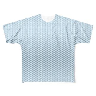 みっちりおさかな ダスティブルー Full graphic T-shirts