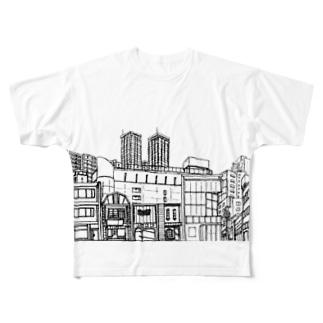 まちなみ Full graphic T-shirts