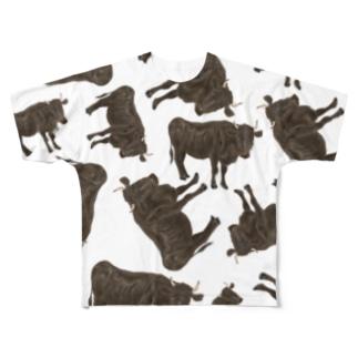 黒毛和牛がいっぱいいっぱい Full graphic T-shirts