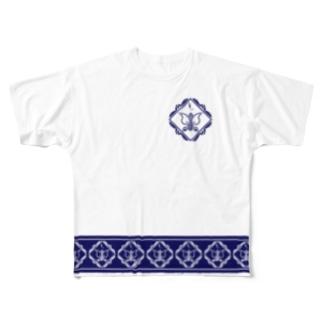 ペイズリー柄ならぬパイズリー柄 裾+ワンポイントネイビー Full graphic T-shirts