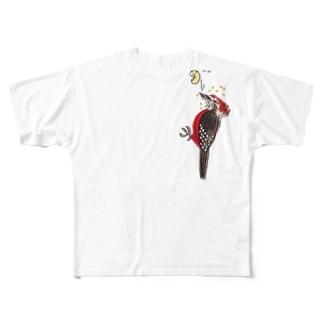 奄美の鳥オーストンオオアカゲラくん Full graphic T-shirts