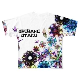折り鶴×透かし折り紙×ORIGAMI OTAKU Full graphic T-shirts