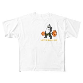 デッドリフトゴリラ紺 Full graphic T-shirts