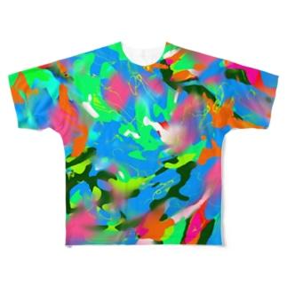 ウズカモ/ブルー Full graphic T-shirts