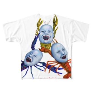 愉快な三人娘 Full graphic T-shirts