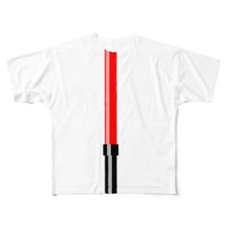 illust_designs_labの工事現場の誘導棒・誘導灯イラスト【マニアックなモノシリーズ】 Full graphic T-shirts