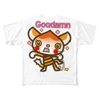 """マロンヘッドのネコ""""ガッデム/Goddamn"""" Full graphic T-shirts"""