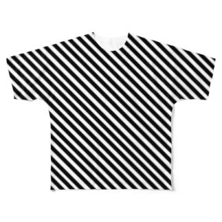 左肩上がり斜めボーダー Full graphic T-shirts