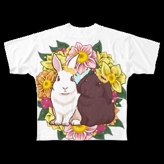 Lichtmuhleのうさぎとリース Full graphic T-shirts