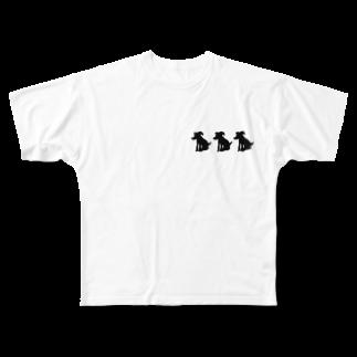 アメリカンベースの愛犬 絵画 Full graphic T-shirts