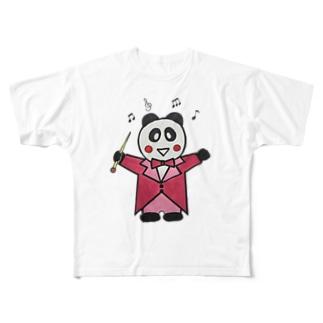 指揮するパンダちゃん Full graphic T-shirts