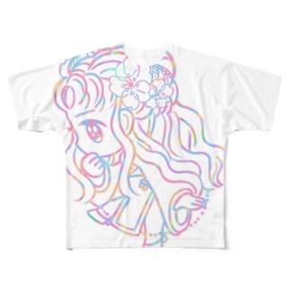パステルチャイナ服の女の子 Full graphic T-shirts